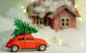 Картинка зима, машина, снег, красный, праздник, игрушка, игрушки, Рождество, Новый год, домик, автомобиль, ёлочка, боке, новогодние …