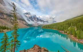 Картинка небо, скала, озеро, фото, alberta