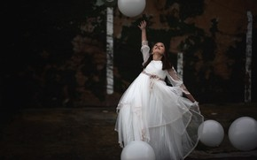 Картинка фон, шар, девочка
