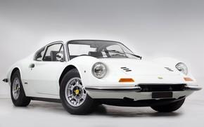 Картинка White, Retro, Sportcar, Ferrari Dino