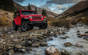 Обои вода, горы, красный, камни, 2018, Jeep, Wrangler Rubicon