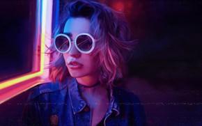 Картинка Девушка, Музыка, Очки, Стиль, Лицо, Фон, 80s, Style, Neon, Illustration, 80's, Synth, Retrowave, Synthwave, New …