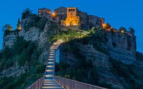 Картинка огни, скала, дома, Италия, ступени