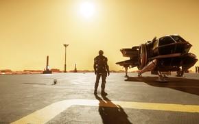 Картинка солнце, закат, пилот, броня, космический корабль, Star Citizen