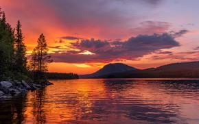 Картинка sunset, mountain, lake