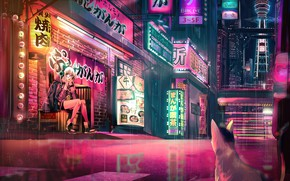 Картинка девушка, город, наушники, ушки