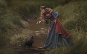 Картинка девушка, украшения, поза, ручей, птица, платье, речка, ворон, длинные волосы, Ольга Куницкая