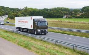 Картинка поле, растительность, трасса, грузовик, Renault, седельный тягач, 4x2, полуприцеп, Renault Trucks, T-series