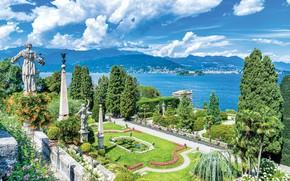 Картинка озеро, Италия, статуи, Маджоре, Palazzo Borromeo, Isola Bella