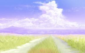 Картинка дорога, лето, небо, горы