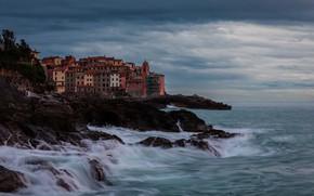 Картинка море, скалы, побережье, дома, Италия, прибой, Italy, Лигурия, Liguria, Залив Поэтов, Gulf of Poets, Телларо, …