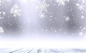 Картинка зима, снег, снежинки, фон, доски, Christmas, wood, winter, background, snow, snowflakes