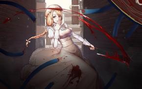 Картинка девушка, кровь, сикира