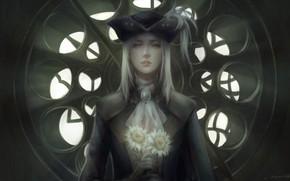 Картинка девушка, цветы, сухие, Bloodborne, Lady Maria