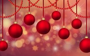 Картинка зима, шарики, красный, сияние, фон, праздник, шары, вектор, Рождество, красные, Новый год, бусы, звездочки, боке, …