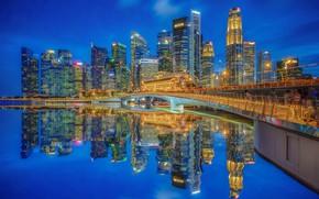 Картинка мост, отражение, здания, дома, залив, Сингапур, ночной город, небоскрёбы, Singapore, Marina Bay, Марина-Бэй, Jubilee Bridge, …