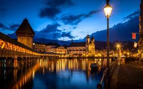 Картинка мост, река, здания, дома, Швейцария, церковь, фонарь, ночной город, набережная, Switzerland, Люцерн, Reuss River, Kapellbrücke, …