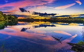 Картинка Закат, Небо, Вода, Природа, Облака, Отражение, Вечер, Деревья, Река, Бавария, Берег, Пейзаж, Nature, Clouds, Sky, …