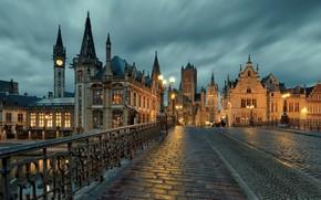 Картинка мост, город, река, дома, вечер, фонари, собор, башни, Бельгия, Гент