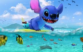 Картинка море, арт, Стич, детская. лето, Stitch's day at the Beach, George Hernandez