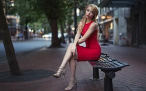 Обои urban, depth of field, lips, portrait, Kyle Cong, model, long hair, looking at camera, sitting, ...