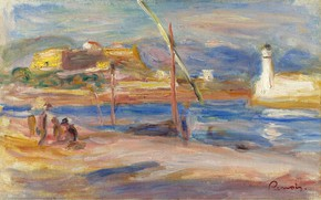 Картинка пейзаж, картина, 1916, Пьер Огюст Ренуар, Pierre Auguste Renoir, Форт Карре. Антиб