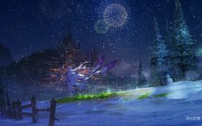 Картинка зима, девушка, снег, ночь, город, салюты, Эмилия, С нуля, Re Zero Kara Hajimeru Isekai Seikatsu, …