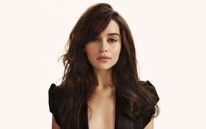 Картинка взгляд, девушка, лицо, волосы, портрет, брюнетка, красивая, Emilia Clarke