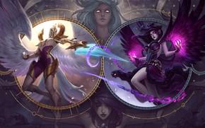Картинка light, sword, fantasy, game, magic, armor, weapon, girls, wings, angels, battle, League of Legends, digital …