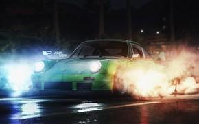 Картинка Авто, 911, Porsche, Дым, Машина, Porsche 911, Рендеринг, Concept Art, Game Art, Need For Speed …