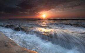 Картинка море, небо, закат, берег, горизонт, прибой