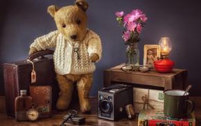 Обои цветы, стиль, лампа, ключ, медведь, очки, кружка, книга, медвежонок, чемодан, компас, винтаж, плюшевый мишка, письма