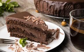 Обои кофе, тарелка, торт, шоколадный, кусочек торта