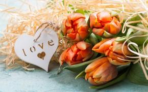 Картинка букет, тюльпаны, оранжевые, сердечко, IRINA BORT