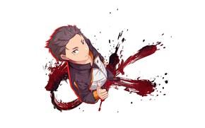 Картинка спортивный костюм, Natsuki Subaru, парень, смотрит вверх, Жизнь с нуля в альтернативном мире, кровь, Re …