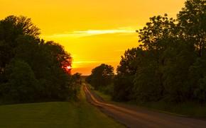 Картинка дорога, закат, красивый