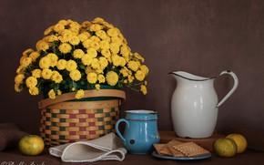 Картинка цветы, стиль, фон, корзина, печенье, кружка, кувшин, натюрморт, хризантемы, жёлтые, салфетка, мандарины
