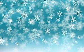 Картинка зима, снег, снежинки, фон, голубой, Christmas, blue, winter, background, snow, snowflakes