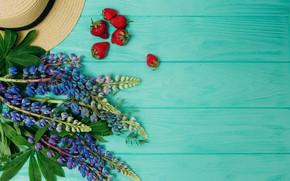 Картинка цветы, фон, wood, flowers, strawberry, purple, люпины, lupine