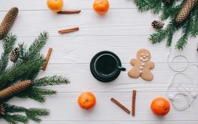Картинка украшения, Новый Год, Рождество, Christmas, wood, New Year, coffee cup, мандарины, decoration, Merry, fir tree, …