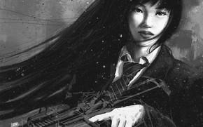 Картинка взгляд, девушка, оружие, арт, галстук, черно-белое, форма, азиатка