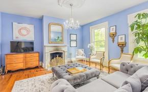 Картинка диван, подушки, кресла, люстра, камин, комод, гостиная, плазма