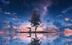 Картинка небо, облака, закат, дерево, ангел, силуэты, ツチヤ