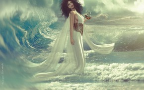 Картинка девушка, океан, волна, корабль