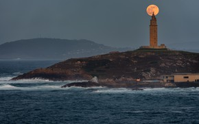 Картинка маяк, Луна, moon, lighthouse, Jose Liñeira Piñeiro