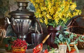 Картинка цветы, стол, ягода, горох, ложка, чашки, ваза, стаканы, натюрморт, самовар, красная, смородина, жёлтые, икона, корзины