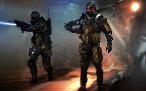 Картинка оружие, солдат, шлем, амуниция, наемник, squad