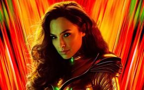 Картинка взгляд, девушка, яркий фон, Wonder Woman 1984