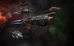 Картинка туманность, станция, Космос, space, руины, битва, космический корабль, eve online, battle, space ship, космоопера