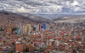 Картинка mountains, houses, Bolivia, La Paz, dense area, High density area, high altitude